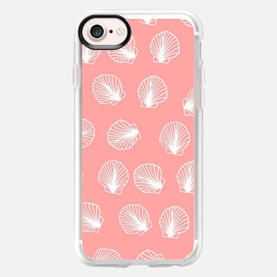 Modern mermaid white seashells hand drawn pattern on pink by Girly Trend
