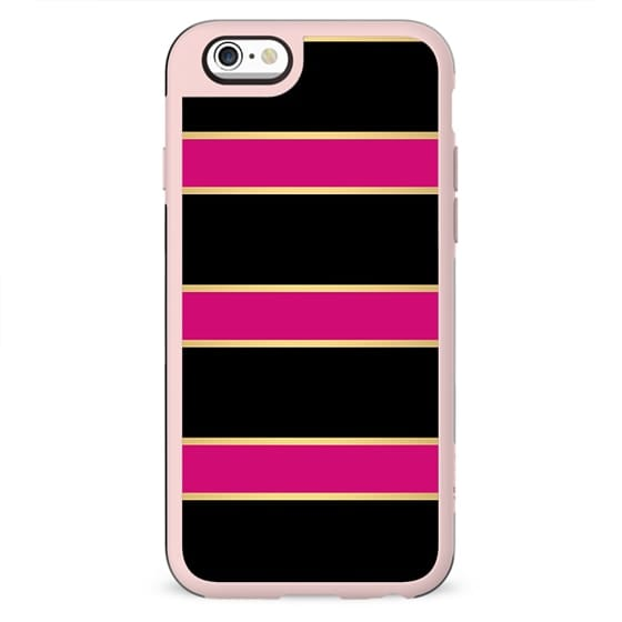Modern fashion stylish geometric black gold stripes on neon pink by Girly Trend