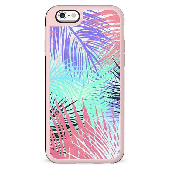 Pastel retro tropical pink blue black watercolor palm tree leaves summer pattern by Girly Trend