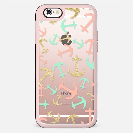 Summer pastel pink mint gold nautical anchors pattern by Girly Trend - New Standard Case