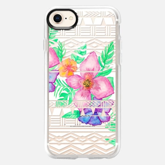 Exotic hawaiian floral watercolor transparent aztec by Girly Trend - Snap Case