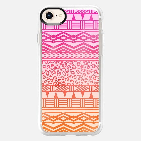 Modern pink ombre watercolor aztec leopard pattern by Girly Trend - Snap Case