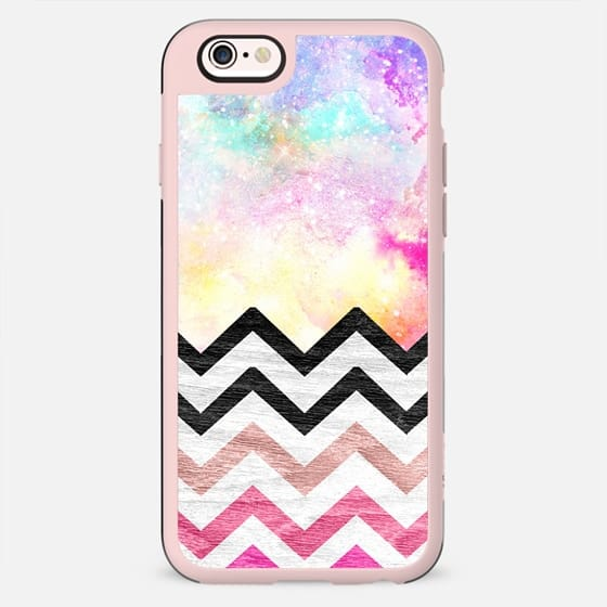 Hand painted Watercolor nebula space pink ombre wood chevron pattern by Girly Trend