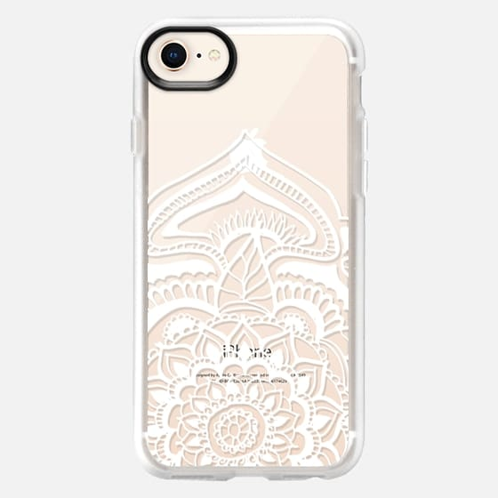 White floral lace henna mandala pattern by Girly Trend - Snap Case