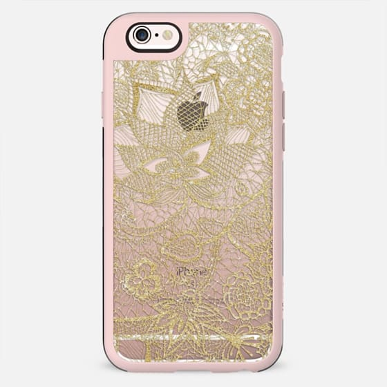 Elegant gold transparent hand drawn chic floral paisley lace pattern by Girly Trend