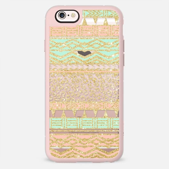 Modern pastel pink mint green gold aztec pattern leopard pattern by Girly Trend -