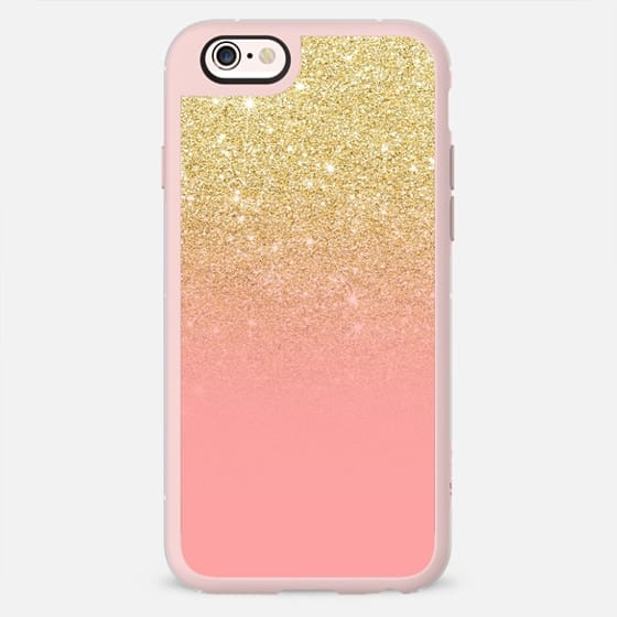 Modern gold ombre strawberry pink color block by Girly Trend -