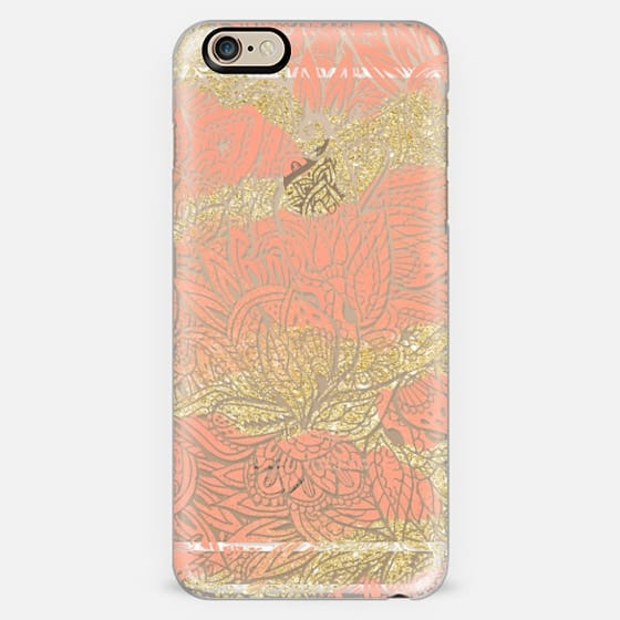 Modern coral peach gold glitter paisley handdrawn pattern transparent by Girly Trend