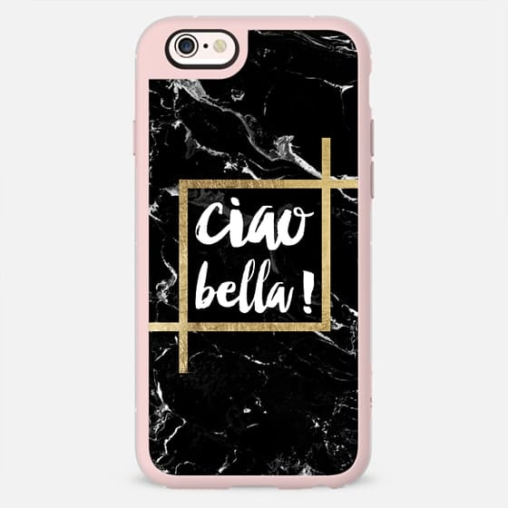 Modern trendy typography Ciao Bella gold black marble -