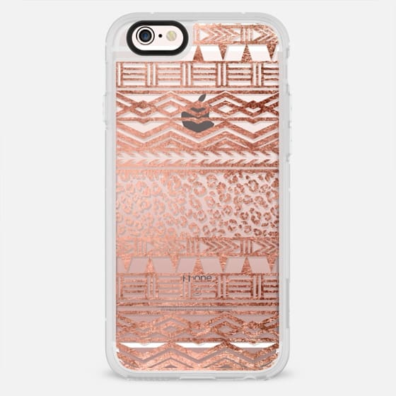 Modern rose gold leopard tribal aztec boho pattern - New Standard Case
