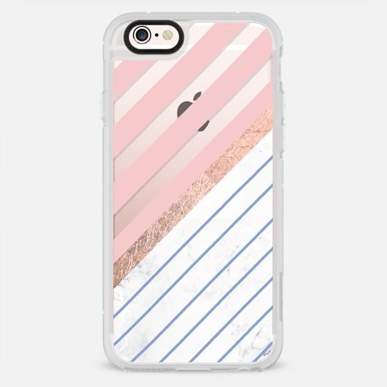 Modern rose quartz serenity color block white marble rose gold stripes by Girly Trend