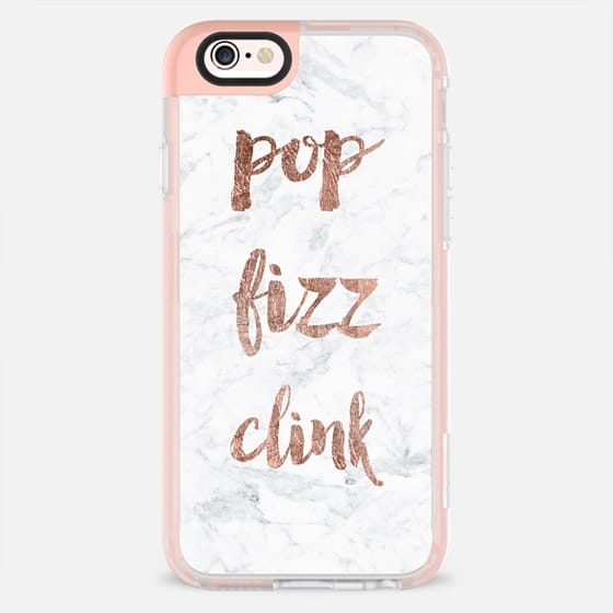 Modern pop fizz clink typography white marble by Girly Trend