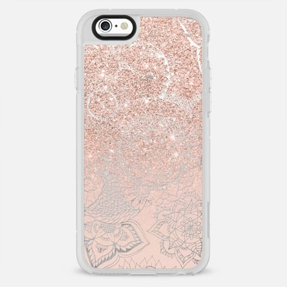 Boho rose gold glitter blush pink floral handdrawn mandala by Girly Trend - New Standard Case