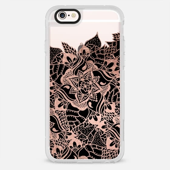 Modern chic elegant rose gold black handdrawn boho mandala semi transparent by Girly Trend - New Standard Case