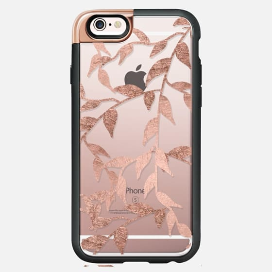Modern hand drawn faux rose gold foil  hand drawn floral branches by Girly Trend -