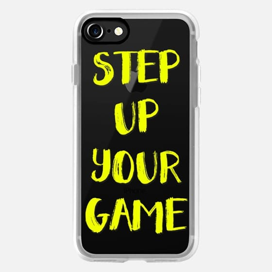 Modern step up your game gym quote typography neon yellow by Girly Trend -