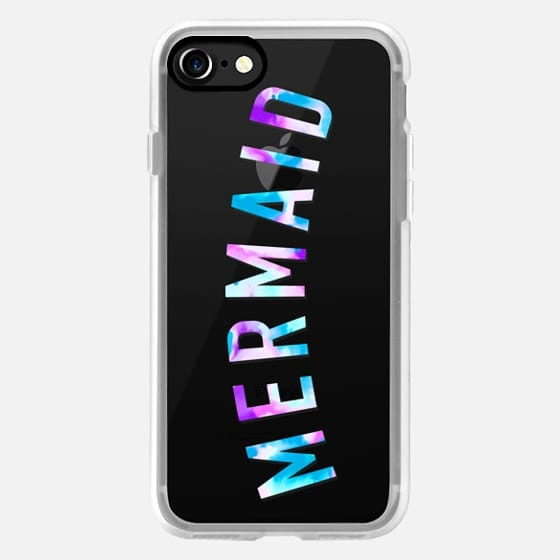 Modern mermaid typography blue purple watercolor quote by Girly Trend -