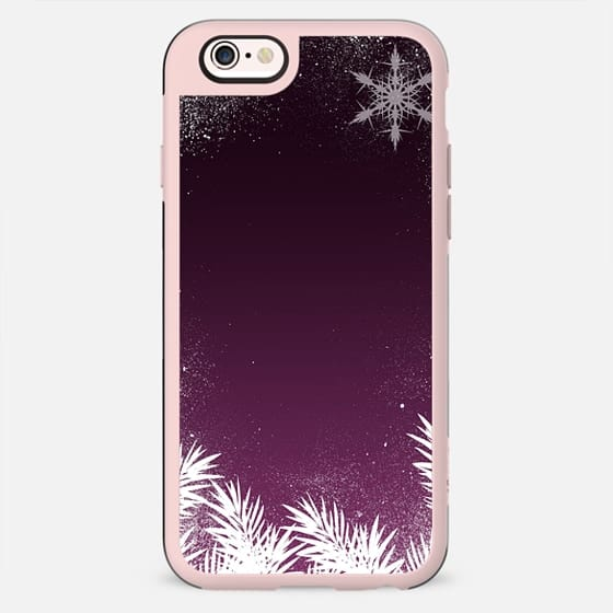 Elegant dark plum winter Christmas holiday snowflakes and pine by Girly Trend