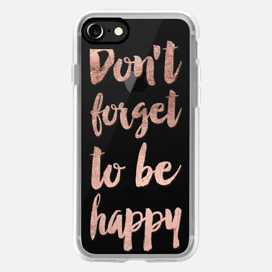 Modern dont forget to be happy quote typography rose gold brush by Girly Trend