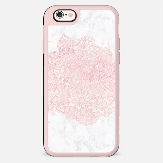 Modern blush pink watercolor elephant handdrawn floral mandala pattern white marble by Girly Trend - New Standard Case