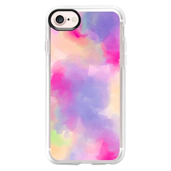 iPhone 7 Cases - Modern colorful pink purple pastel watercolor paint background by Girly Trend
