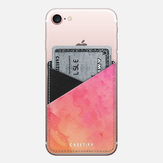 Modern summer hand painted pink orange sunset watercolor wash by Girly Trend - Saffiano Leather Phone Wallet