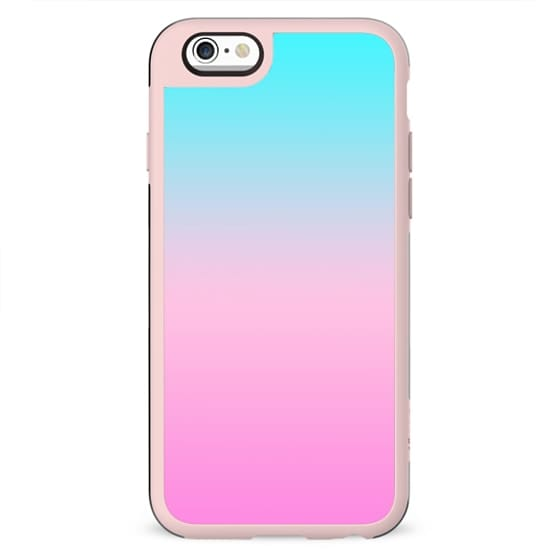 Simple modern summer beach bright teal pink ombre gradient pattern by Girly Trend