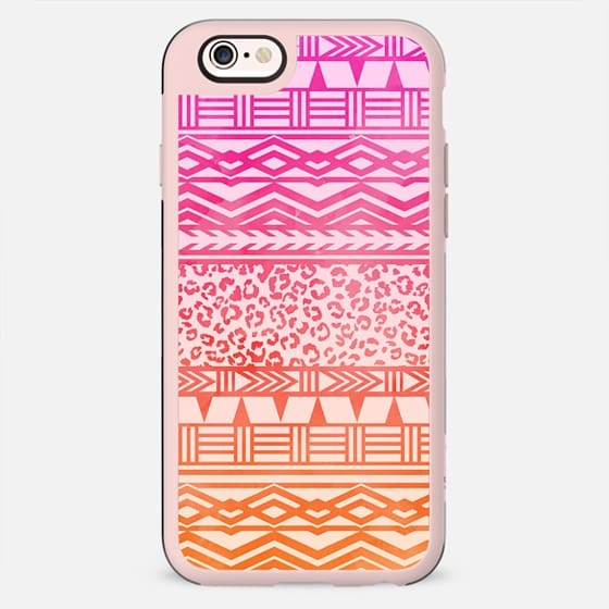 Modern pink ombre watercolor aztec leopard pattern by Girly Trend