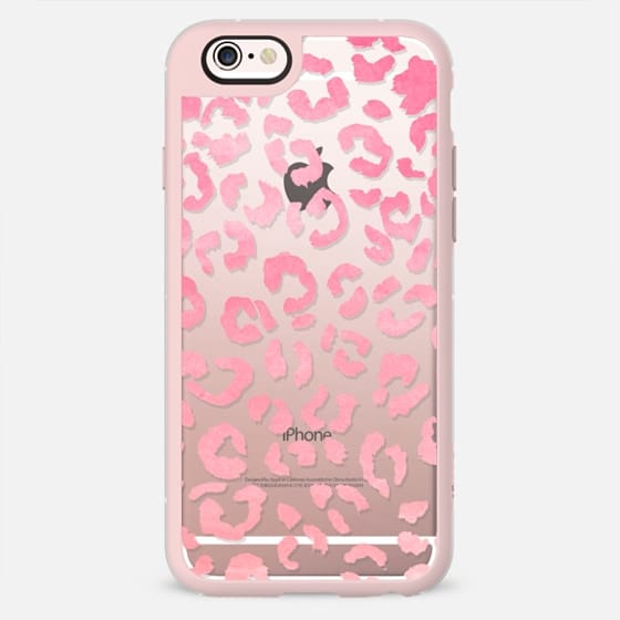 Modern girly pink ombre watercolor leopard pattern by Girly Trend -
