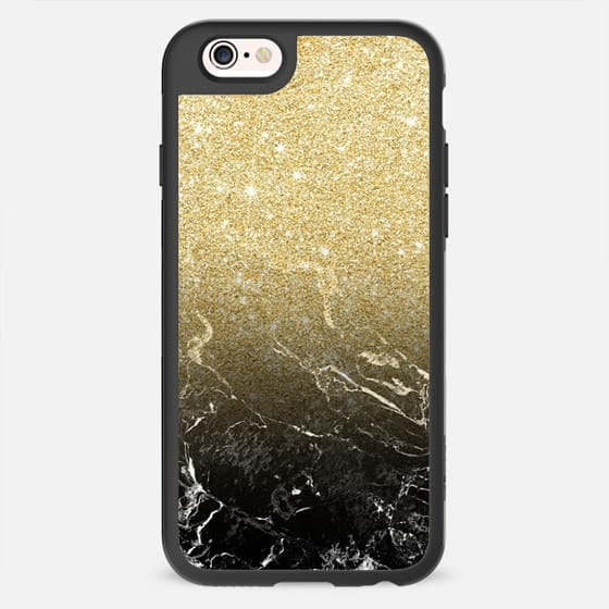 Luxurious Modern girly faux gold glitter black marble pattern by Girly Trend -