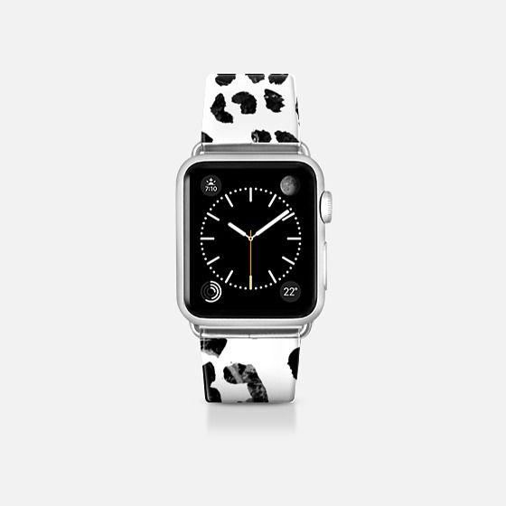 Modern elegant black marble leopard print pattern hand drawn by Girly Trend