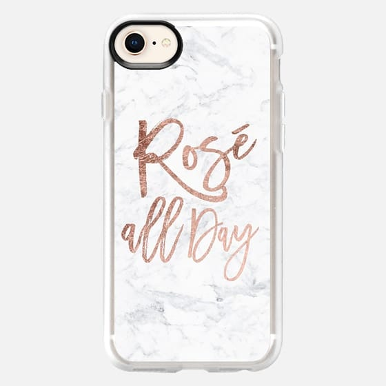 Modern chic rosé all day typography rose gold foil white marble by Girly Trend - Snap Case