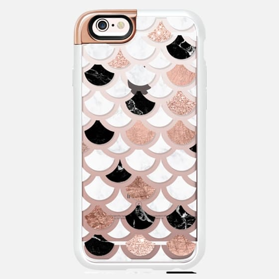Modern mermaid scallop pattern rose gold foil glitter black white marble by Girly Trend semi transparent -