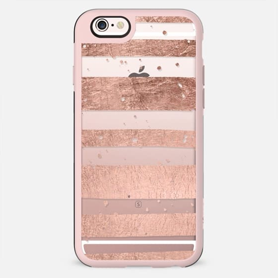 Faux rose gold foil handdrawn stripes modern confetti pattern by Girly Trend