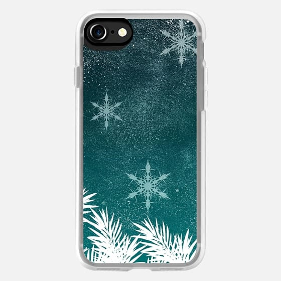 Modern dark turquoise christmas holiday season pine snowflakes by Girly Trend