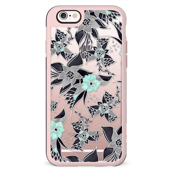 Modern spring grey mint green floral illustration pattern by Girly Trend