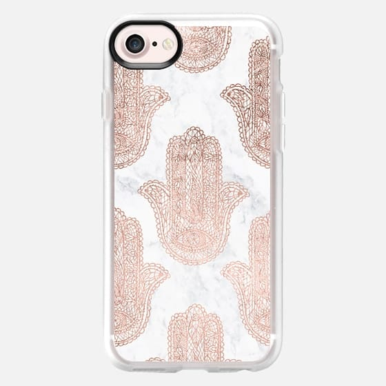 Modern pink floral lace hamsa hands illustration pattern white marble by Girly Trend