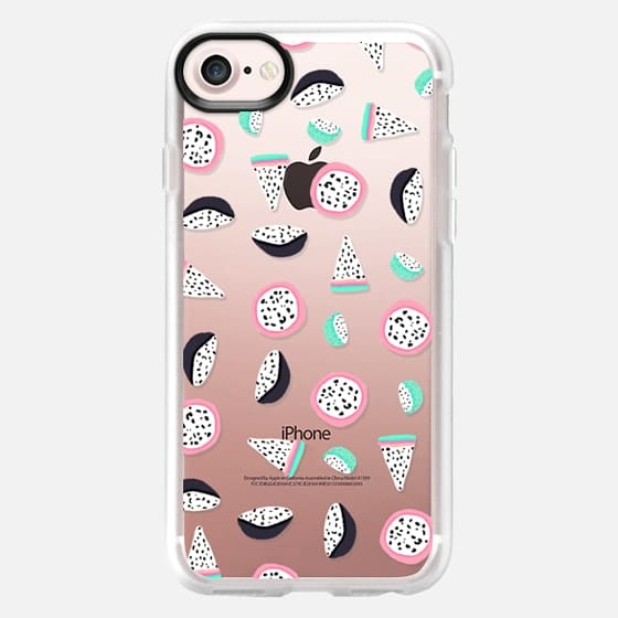 Modern hand drawn tropical abstract geometric pink turquoise pastel fruits pattern by Girly Trend