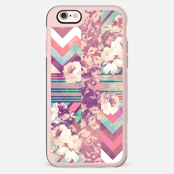 Retro Pink turquoise Floral Stripe Chevron Pattern by Girly Trend - New Standard Case