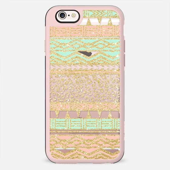 Modern pastel pink mint green gold aztec pattern leopard pattern by Girly Trend