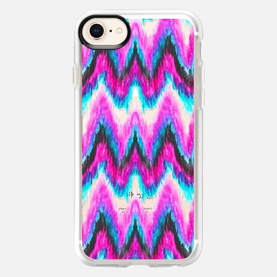 Bright boho teal pink hand painted ikat chevron by Girly Trend transparent - Snap Case