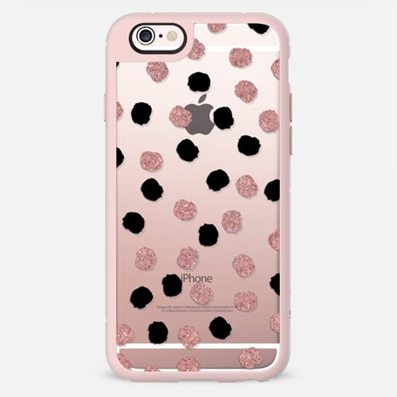 Modern rose gold black abstract brush polka dots transparent by Girly Trend