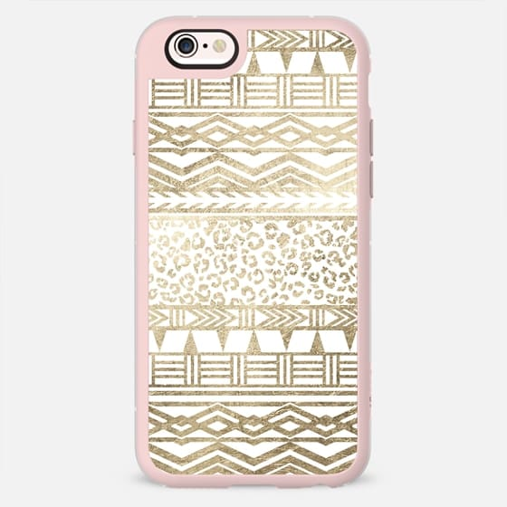 Modern faux gold foil aztec leopard pattern by Girly Trend -