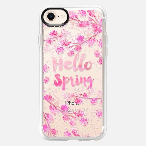 Modern hello spring typography pink watercolor cherry blossom sakura hand painted  by Girly Trend - Snap Case