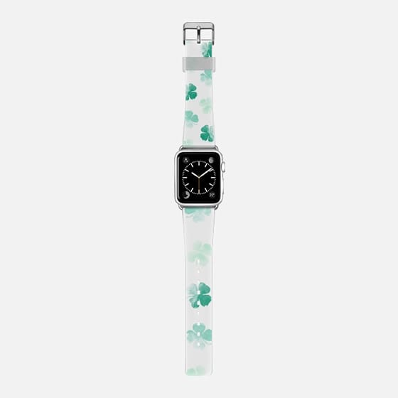 St Patrick lucky green watercolor shamrock clovers pattern by Girly Trend -