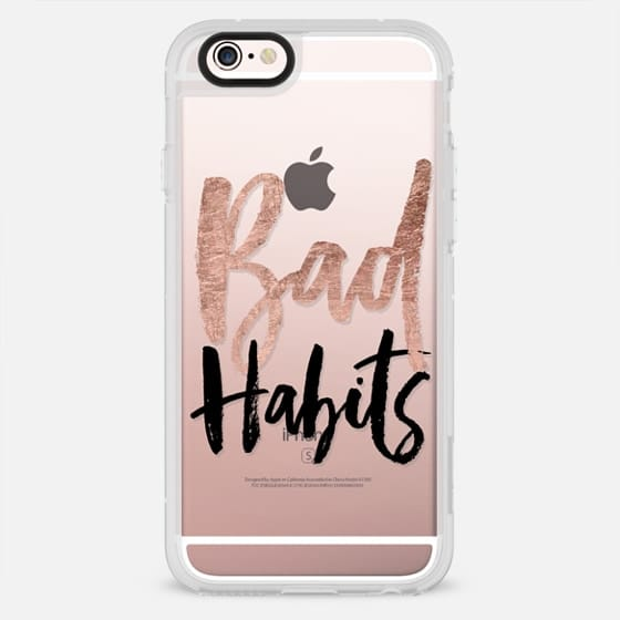 Bad habits rose gold foil black modern typography trendy quote by Girly Trend