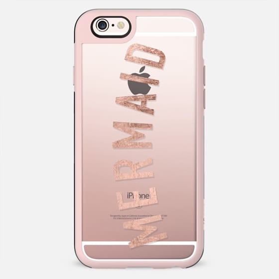 Modern mermaid typography faux rose gold foil quote by Girly Trend