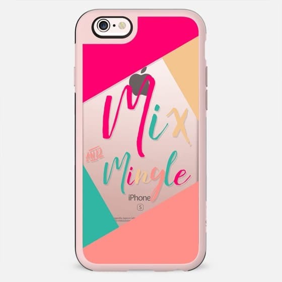 Modern mix and mingle typography color block pink turquoise New Year christmas by Girly Trend - New Standard Case