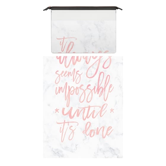 MacBook Air 13 Sleeves - Modern blush pink watercolor typography quote awlays seems impossible until it's done white marble by Girly Trend