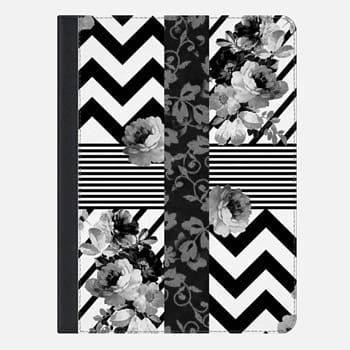 iPad Air 2 Case Trendy Black and White Floral Lace Stripes Chevron Ipad mini
